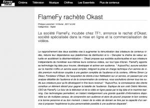 ecran total article rachat startup ott vod flamefy okast